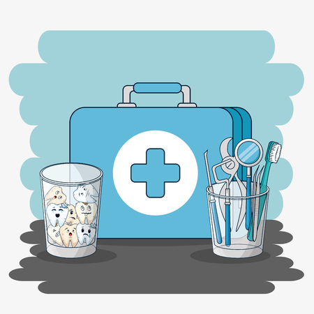 briefcase with teeth in the glass and dental equipment vector illustration