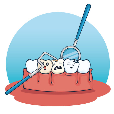teeth care with excavador and mouth mirror equipment vector illustration