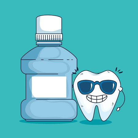 tooth care with sunglasses and medical toothwash vector illustration Ilustrace