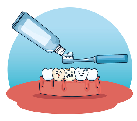 teeth care with toothpaste and toothbrush tool vector illustration Illustration