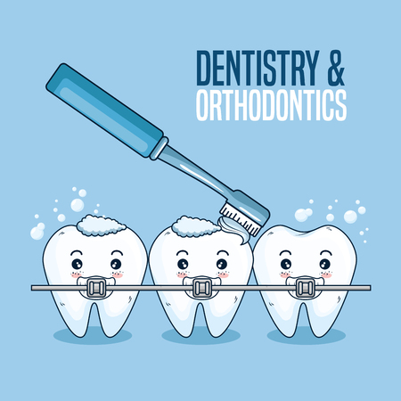 teeth care with orthodontic and toothbrush tool vector illustration