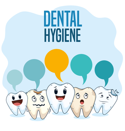 dental hygiene treatment with professional medicine vector illustration