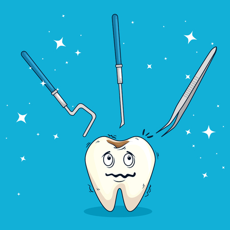 tooth with caries and excavadors with tweexer tools vector illustration