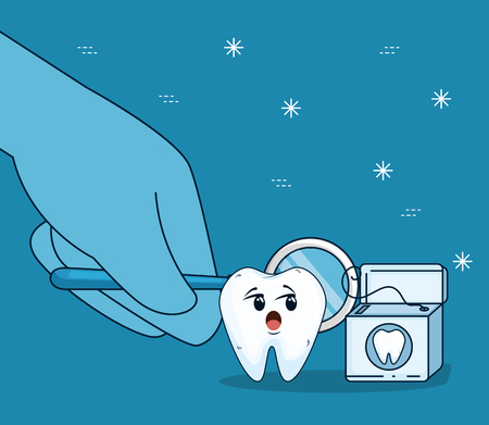 tooth care with mouth mirror and dental floss vector illustration Stock Illustratie