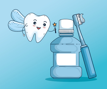 tooth fairy with mouthwash and toothbrush tool vector illustration