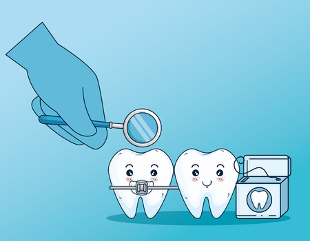 teeth care with orthodontic and dental floss vector illustration Illustration