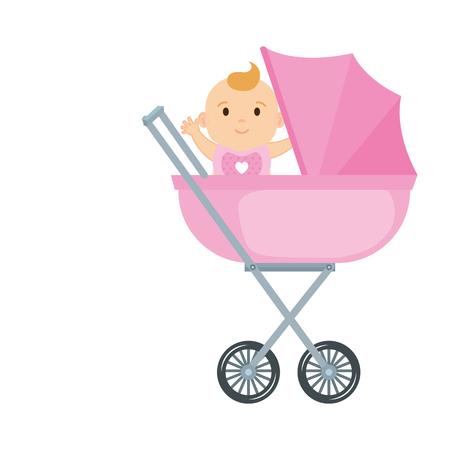 cute and little girl baby in cart vector illustration design Ilustración de vector