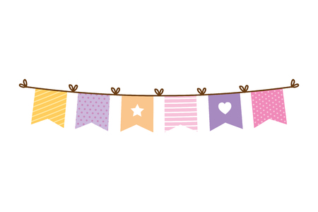 garlands party hanging icon vector illustration design Ilustração