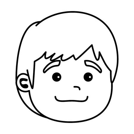 niedliches kleines Babykopf-Charakter-Vektor-Illustrationsdesign