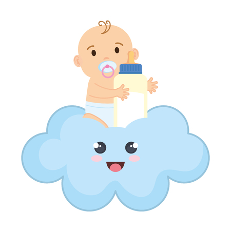 Mignon et petit garçon bébé avec bouteille de lait vector illustration design