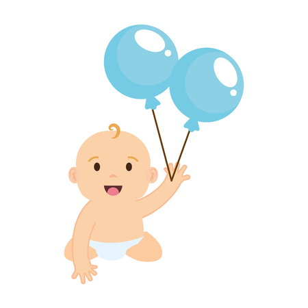 cute and little boy baby with balloons helium vector illustration design 일러스트
