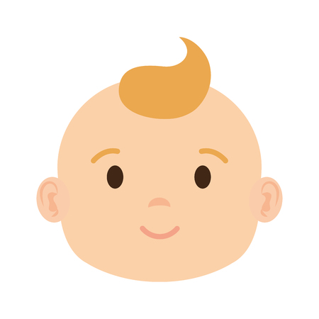 cute and little boy baby head character vector illustration design Illustration