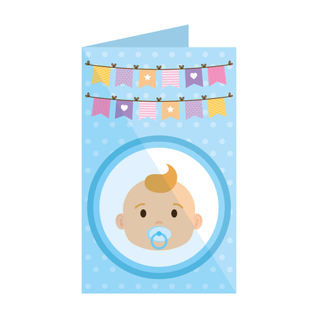 invitation card with little boy baby character vector illustration design