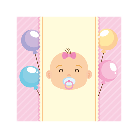 invitation card with little girl baby vector illustration design
