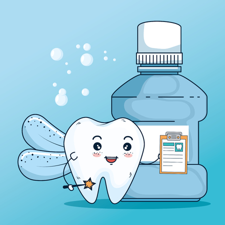 tooth healthcare treatment with diagnosis and mouthwash vector illustration Illustration