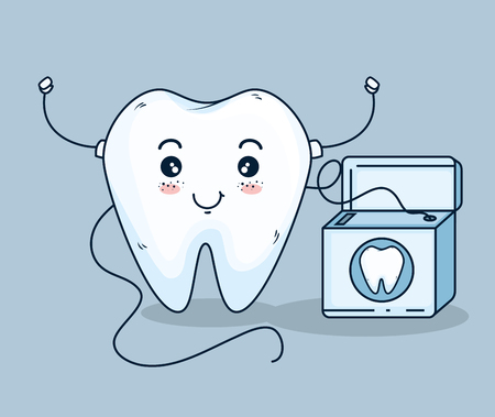 tooth care treatment with dental floss vector illustration Ilustrace
