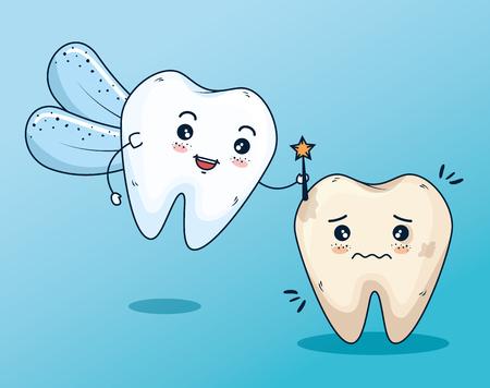 Fée des dents à l'illustration vectorielle de traitement de soins dentaires Vecteurs