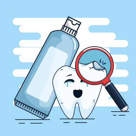 tooth treatment with toothpaste and magnifying glass vector illustration