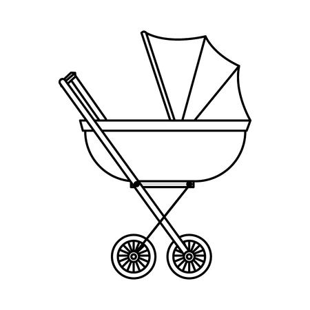 Carrito de bebé aislado icono diseño ilustración vectorial Ilustración de vector