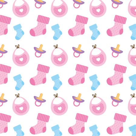 Baby shower establecer iconos patrón, diseño de ilustraciones vectoriales Ilustración de vector