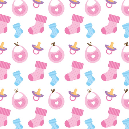 baby shower set icons pattern vector illustration design