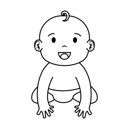 cute and little boy baby character vector illustration design Illustration