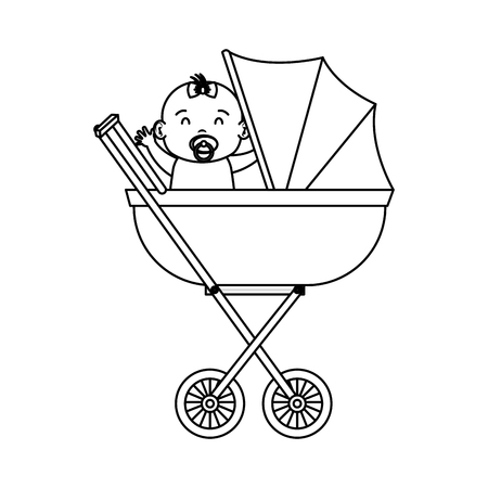 cute and little girl baby in cart vector illustration design Ilustrace