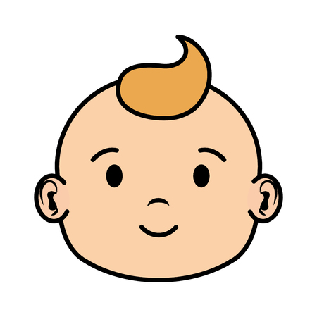 cute and little boy baby head character vector illustration design Ilustrace