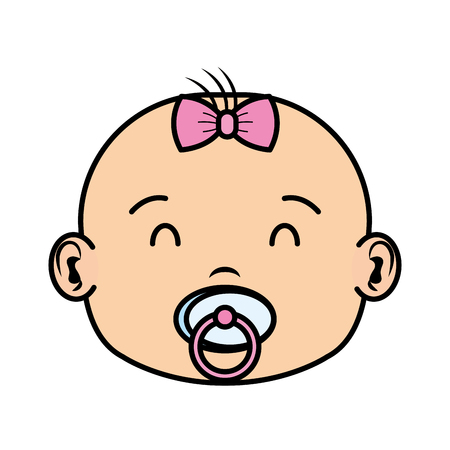 cute and little girl baby head character vector illustration design