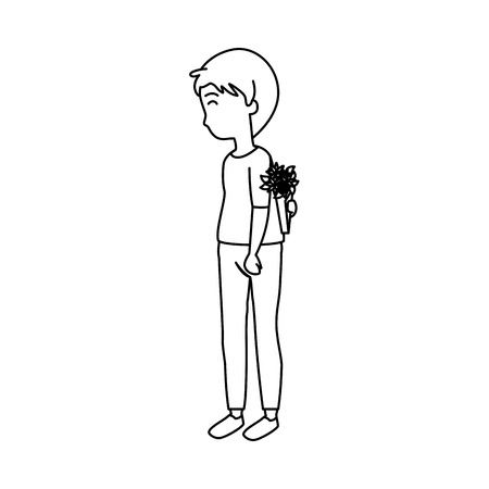 young man hiding bouquet of roses vector illustration design