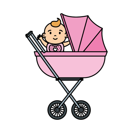 cute and little girl baby in cart vector illustration design