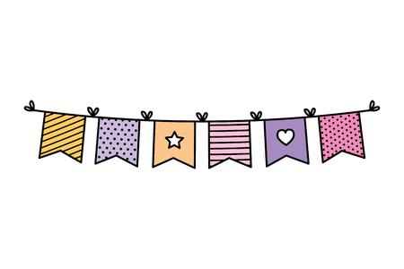 garlands party hanging icon vector illustration design Stock Illustratie