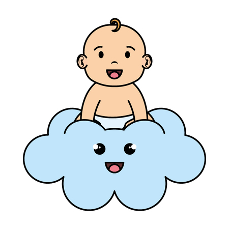 cute and little boy baby in cloud vector illustration design
