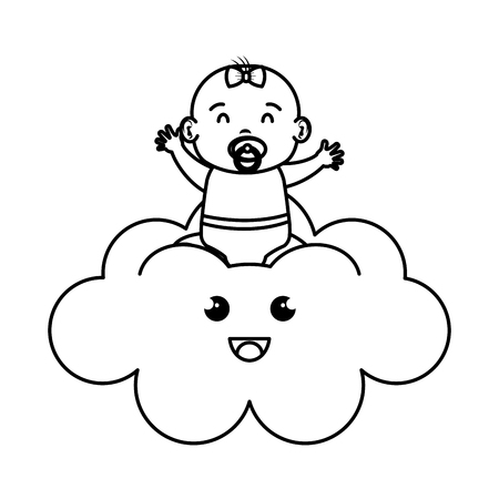cute and little girl baby in cloud vector illustration design