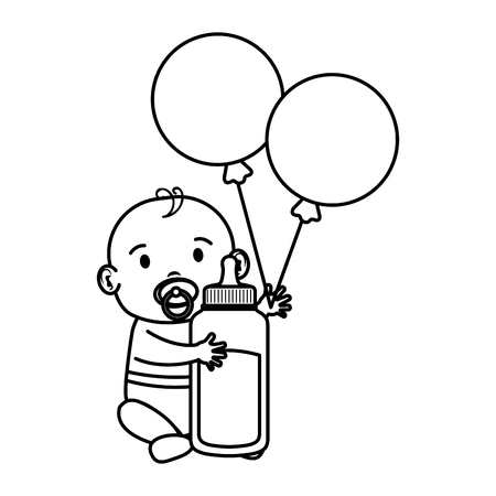 cute and little boy baby with milk bottle vector illustration design