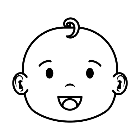 cute and little boy baby head character vector illustration design 일러스트