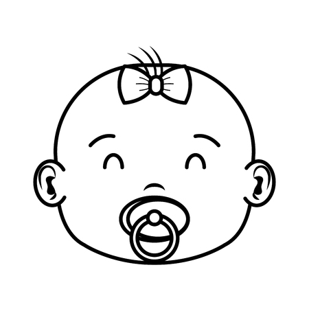 cute and little girl baby head character vector illustration design Archivio Fotografico - 125896363