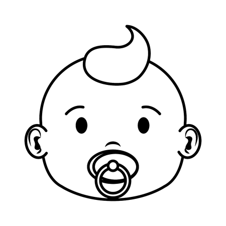 cute and little boy baby head character vector illustration design 向量圖像