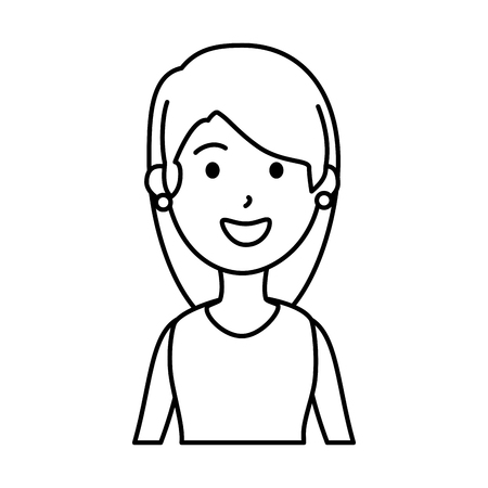 beautiful and young woman character vector illustration design  イラスト・ベクター素材