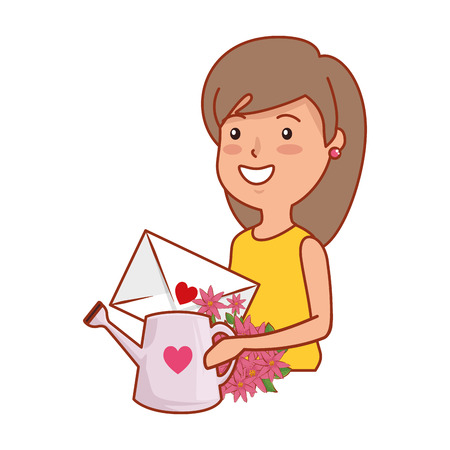 young woman with sprinkler and love letter vector illustration design