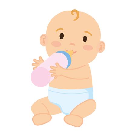 Lindo y niño bebé con botella de leche, diseño de ilustraciones vectoriales