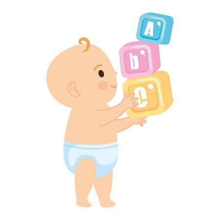 little baby with alphabet blocks toys icons vector illustration design Vector Illustration