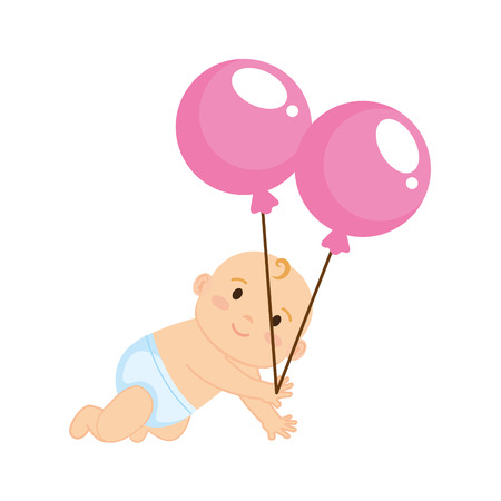 cute and little boy baby with balloons helium vector illustration design Illusztráció