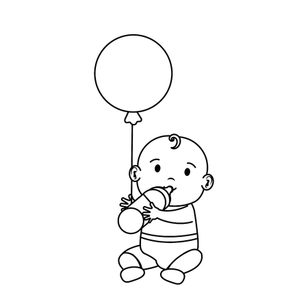 cute and little boy baby with balloons helium vector illustration design Ilustração