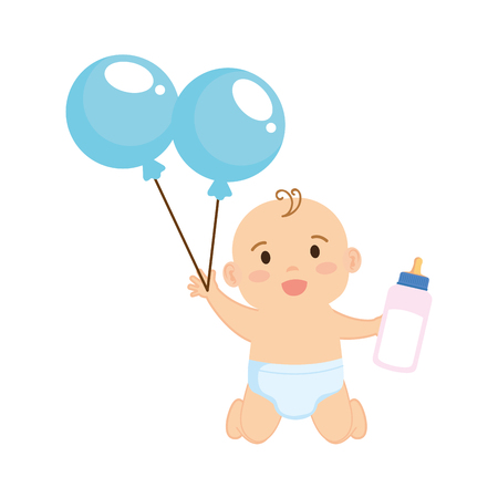 cute and little boy baby with balloons helium vector illustration design Ilustrace