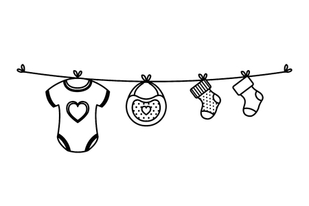 clothes baby hanging in wire vector illustration design