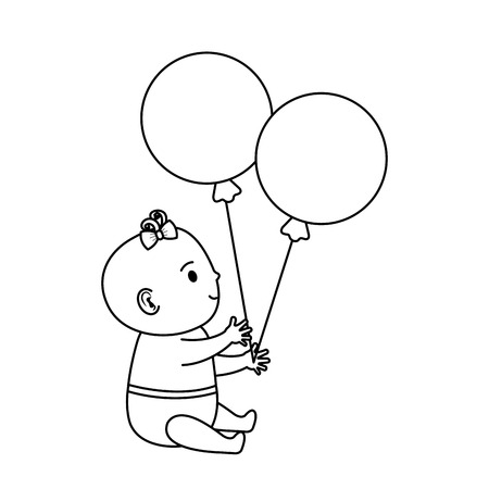 cute and little girl baby with balloons helium vector illustration design