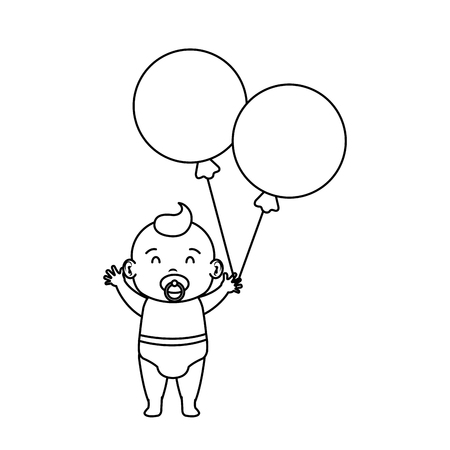 cute and little boy baby with balloons helium vector illustration design Illustration