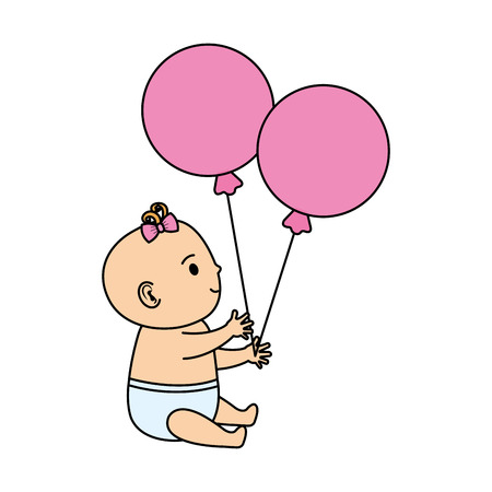 cute and little girl baby with balloons helium vector illustration design Standard-Bild - 125896511