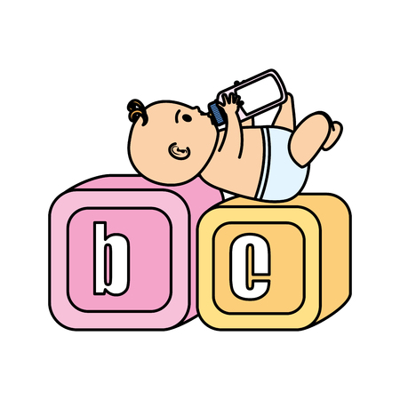 little baby with alphabet blocks toys icons vector illustration design